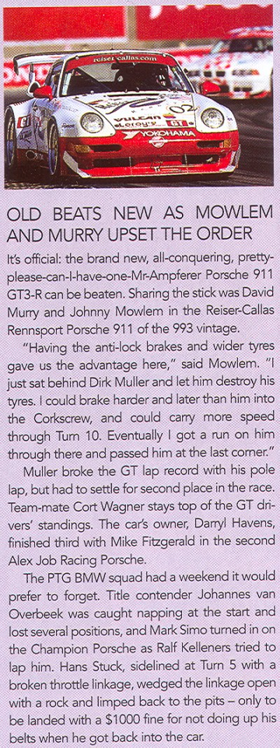 American LeMans Magazine Write-up for Reiser-Callas Rennsport