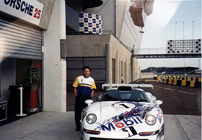 Tony at the Factory Porsche Motorsport Team LeMans 1996 (1996 GT1)