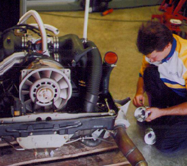 Tony working on new Parr Motorsport (England) GT2 racing engine at LeMans